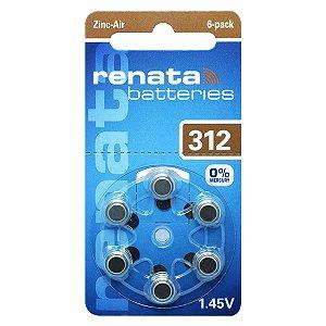 06 Pilha Aparelho Auditivo 312 Bateria Auditiva Za312 Renata