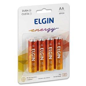 04 Pilhas AA Pequena Comum Zinco Carvão Elgin - 01 Cartela