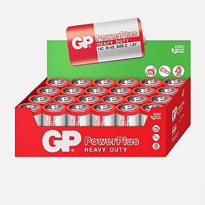 24 Pilhas C Média LR14 Comum Zinco Gp Powerplus 1 Caixa