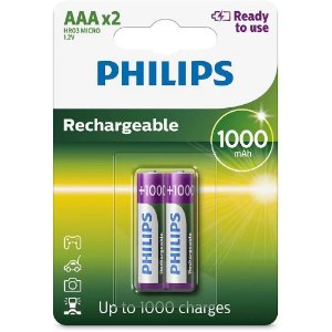 02 Pilhas AAA Recarregável Palito 1000mah Philips 1 Cartela