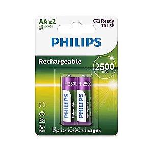 02 Pilhas AA Recarregável Pequena 2500mah Philips 1 Cartela