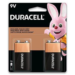 02 Pilhas Bateria 9v Alcalina Duracell 1 Cartela