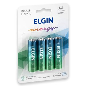 04 Pilhas AAA Palito Alcalina Elgin 1 Cartela