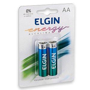02 Pilhas AA Pequena Alcalina Elgin 1 Cartela