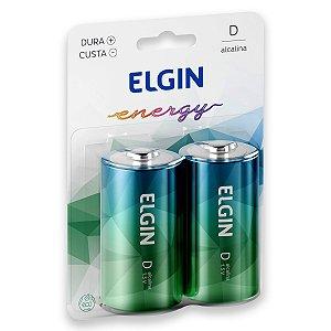 02 Pilhas D Grande Lr20 Alcalina Elgin 1 Cartela