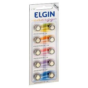 10 Pilhas Baterias Lr1130 Lr54 Ag10 Alcalina Elgin 1 Cartela