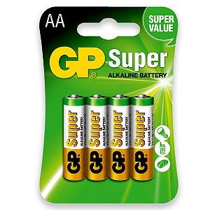 04 Pilhas AA Pequena Alcalina Super Gp - 01 Cartela Com 4 Unidades