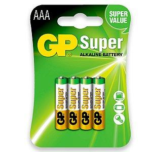 04 Pilhas AAA Palito Alcalina Gp Super 01 Cartela Com 4 Unid.