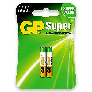 2 Pilhas AAAA 4a Mini Alcalina 1,5v Gp Super 1 Cartela C/ 2 Unid