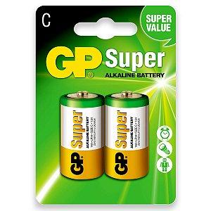 02 Pilhas C Média Alcalina Gp Super 01 Cartela C/ 2 Unidades