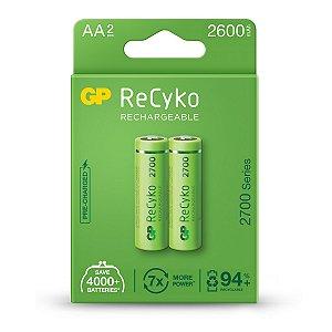 02 Pilhas AA Recarregável Pequena 2600 mAh Gp Recyko - 01 Cartela