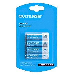04 Pilhas AA Recarregável Pequena 2500mah Multilaser 1 Cartela Cb052