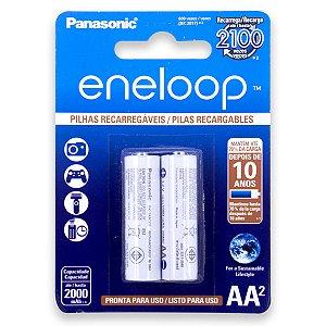 02 Pilhas AA Eneloop Recarregável Pequena 2000mah Panasonic 1 Cartela