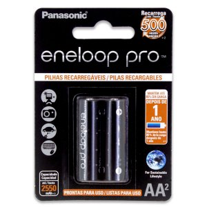 02 Pilhas AA Eneloop Pro Recarregável Pequena 2550mah Panasonic