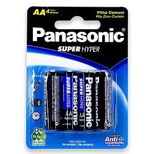 04 Pilhas AA Pequena Comum Zinco Carvão Panasonic 1 Cartela