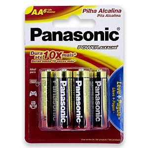 06 Pilhas AA Pequena Alcalina Panasonic 1 Cartela