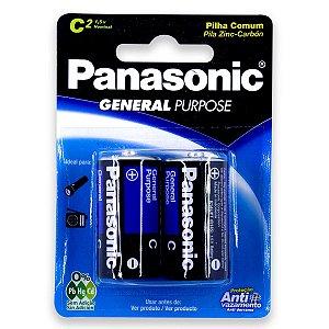 02 Pilhas C Média Comum Zinco Carvão Panasonic 1 Cartela
