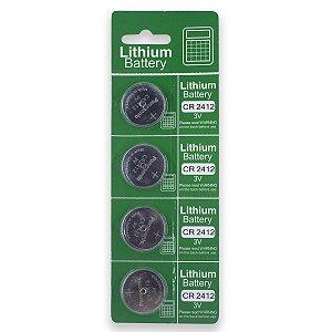 04 Pilhas Panasonic Cr2412 3v Bateria Original 1 Cartela