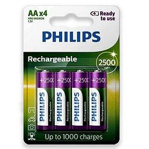 04 Pilhas AA Recarregável Pequena 2500mah Philips 1 Cartela