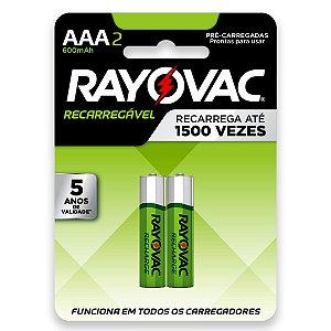2 Pilhas AAA Recarregável Palito 600mah Rayovac
