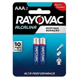 02 Pilhas AAA Palito Alcalina Rayovac 1 Cartela
