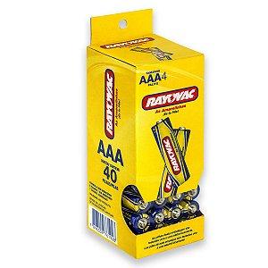 40 Pilhas AAA Palito Comum Zinco Carvão Rayovac 1 Tubo