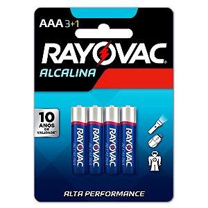04 Pilhas AAA Palito Alcalina Rayovac 1 Cartela