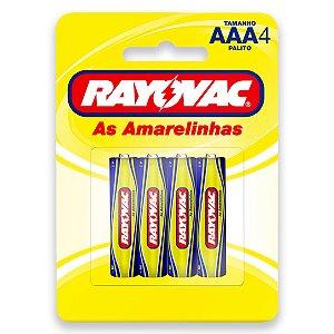 04 Pilhas AAA Palito Comum Zinco Carvão Rayovac 1 Cartela