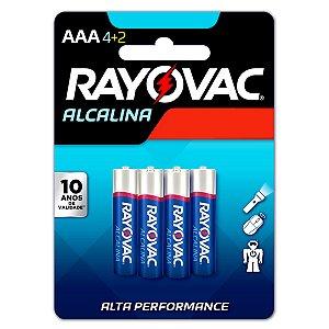 06 Pilhas AAA Palito Alcalina Rayovac 1 Cartela