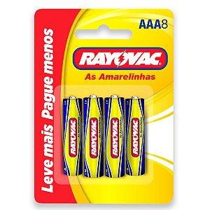 08 Pilhas AAA Palito Comum Zinco Carvão Rayovac 1 Cartela
