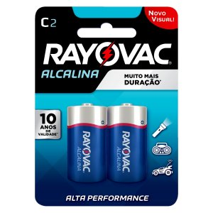 02 Pilhas C Média Lr14 Alcalina Rayovac 1 Cartela