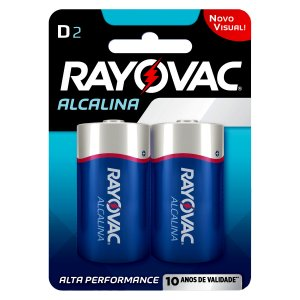 02 Pilhas D Grande Lr20 Alcalina Rayovac 1 Cartela