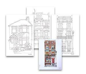 Kit 3 Folhas Ilustradas Phil Maltz | Papel Estudantil A4 | 100% celulose