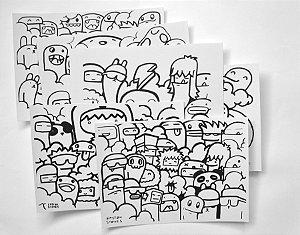 Kit 6 Folhas Ilustradas Doodle | Papel Estudantil A4 | 100% celulose