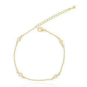 Pulseira Tiffany Zircônia Cristal Folheado Ouro 18K