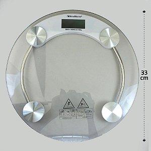 Balança de Banheiro  Digital em Vidro Redonda 180kg Yins Home