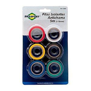 Kit Fitas Isolante Colorida 5m x 19mm Brasfort