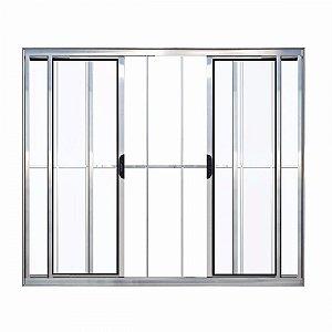 Janela  Alumínio Com Grade 4 Folhas 1,00M X 1,00M