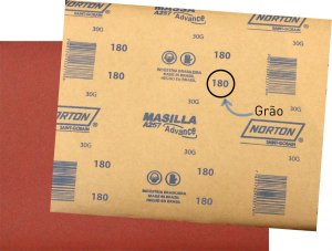 Kit Lixa Massa 180 Norton Granulometria Com 15 UN/
