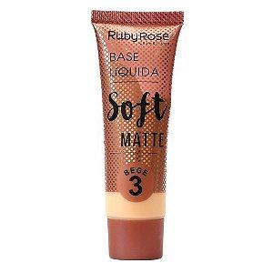 BASE LÍQUIDA SOFT MATTE BEGE 3 - RUBY ROSE