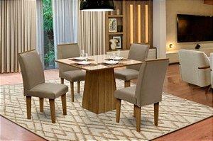 Conjunto Sala de Jantar Florença c/ 4 Cadeiras 90x90 Dobuê