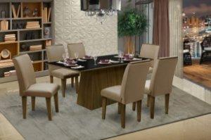 Conjunto Sala de Jantar Florença c/ 6 Cadeiras 160x90 Dobuê