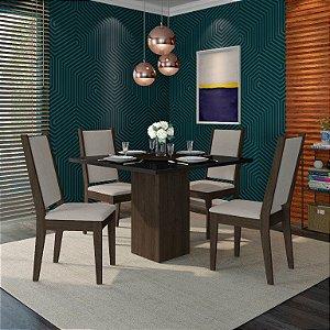Conjunto de Mesa Seul 110X110 cm com 4 Cadeiras