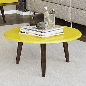 Mesa de Centro Redonda Brilhante Decor Móveis - Amarelo