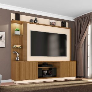 Home Painel Atlanta Tv 65 42x201x188 Canela Ripado/Off White