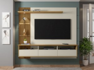 """Painel p/ TV 60"""" Trend Bechara Off White/Canela 161x180x33"""
