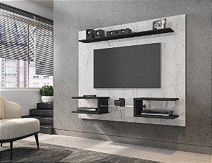 """Painel p/ TV 55"""" Atlas Bechara Carrara/Preto Fosco 136x163x30"""