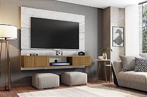 """Painel p/ TV 65"""" Ambar Bechara Carrara/Canela Rip 160x33x136"""