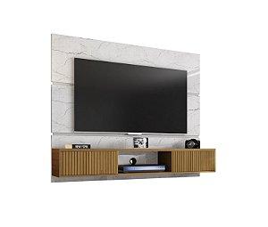 """Painel Para TV 65"""" Ambar Bechara Carrara/Canela 136x160x39"""