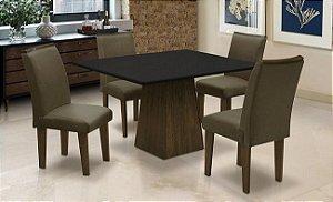Conjunto Mesa c 4 Cadeiras Florença Dobuê Castanho 78x90x120